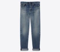 baggy-jeans aus abgenutztem, ausgebleichtem blauem denim