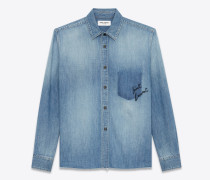 oversize-karohemd aus blauem denim