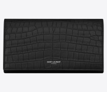 Großes Portemonnaie aus mattem Leder mit Krokodillederprägung