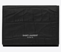petite saint laurent paris portemonnaie aus schwarzem leder mi