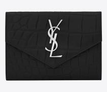 kleine umschlag-portemonnaie aus schwarzem geprägtem leder mit krokodilprägung
