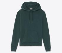 Kapuzensweatshirt mit dunkelgrünem Saint Laurent-Quadrat