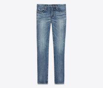 "skinny-hüftjeans aus mittelblauem denim mit ""saint laurent université""-patch"
