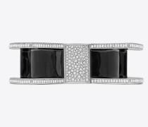 SMOKING verdrehtes Armband aus silberfarbenem Metall mit schwarzem Email und weißen Kristallen