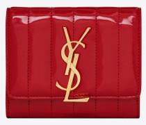 Kompaktes VICKY Portemonnaie aus rotem Lackleder