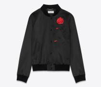College-Jacke aus schwarzem Satin mit Rosen- und Skelettstickerei