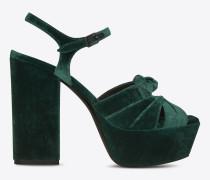 farrah 80 sandale aus dunkelgrünem samt mit schleife