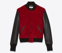 College-Jacke aus rotem Mohair und schwarzem Leder