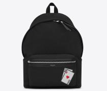 City Rucksack aus schwarzem Canvas mit SL Spielkartenmotiv
