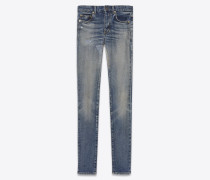 mid-rise skinny jeans in fADED BLUE DENIM