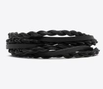 mehrreihiges tribal armband aus schwarzem leder