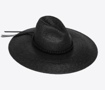 großer Strohhut mit geflochtenem Lederband