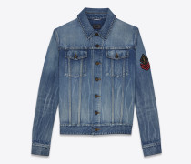 jeansjacke mit army-ysl-patch in original blue-shadow-waschung