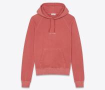 Kapuzensweatshirt aus ausgebleichtem rotem Baumwollfleece mit Saint Laurent-Quadrat
