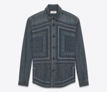 bluse aus blaugrauem vintage-denim mit mosaikstickerei