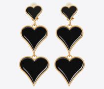 Three-heart earrings in brass and enamel