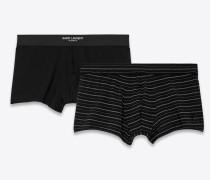 Hüfthohe Boxershorts aus schwarzem Jersey und gebrochen weißen Streifen