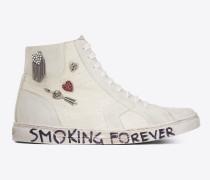 joe halbhoher sneaker aus abgenutzt weißem canvas und elfenbeinfarbenem velours