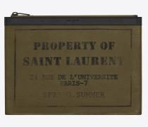 army saint laurent tablet-etui aus khakigrünem gabardine mit reißverschluss