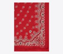 bandana-stola aus kaschmir mit rot-weissem paisleymuster und seidenetamin