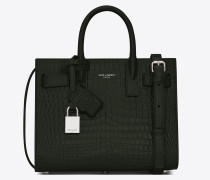 Classic small Sac de Jour in shiny crocodile-embossed leather