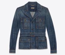 Safari jacket in indigo blue denim