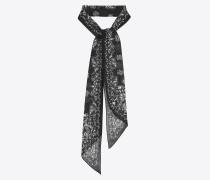 Lavallière-Krawatte aus Wollmousselin mit Totenkopf- und Herzprint