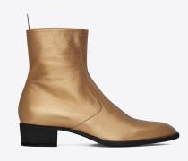signature wyatt 40 stiefel aus dunkelgoldfarbenem metallic-narbenleder mit reißverschluss