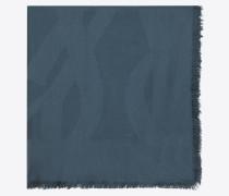 großes ysl-carré aus blauem seidenjacquard