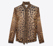 Bow tie blouse in YSL leopard-print silk chiffon