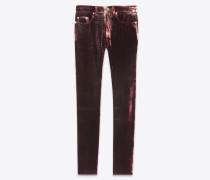 Mittelhoch geschnittene, eng anliegende Cropped-Jeans aus gebleichtem Ausbrenner-Samt