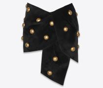 Minirock mit Nieten aus schwarzem Velours