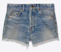 Shorts aus ausgebleichtem blauem Denim