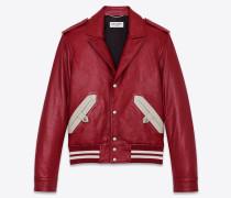 Bomber-Jacke aus glänzendem, genarbtem Lammfell
