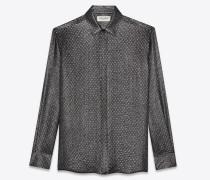 Hemd aus schwarzem und silberfarbenem Karostoff mit Tupfen