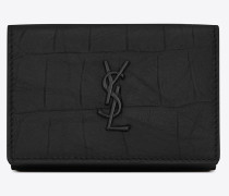 Small Monogram wallet in black crocodile embossed leather