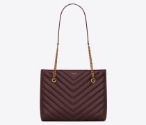 TRIBECA Small shopping bag in grain de poudre embossed leather