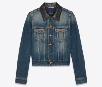 DEEP VINTAGE BLUE denim jacket with leather