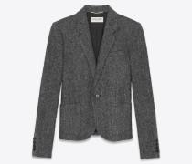 Kurze Jacke aus grauer Wolle im Fischgrätmuster
