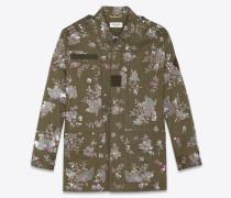 army-parka aus khakigrünem gabardine mit stickerei und perlenbesatz