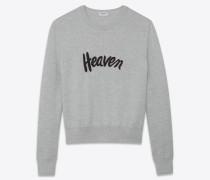 hellgrauer und schwarzer matrosenpullover mit heaven-stickerei