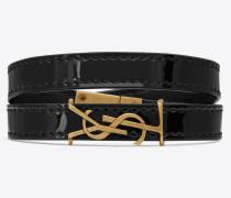 OPYUM doppeltes Wickelarmband aus schwarzem Lackleder und goldfarbenem Metall