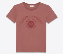 Klassisches Saint Laurent University T-Shirt aus antikrotem Jerseystoff