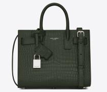 Nano Sac de Jour Tasche aus dunkelgrünem Leder mit Krokodillederprägung