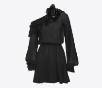 asymmetrisches minikleid aus schwarzem seidenmousselin mit rüschen und blumenbrosche