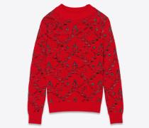 Pullover aus rotem Jacquardstrick mit Blumenmuster