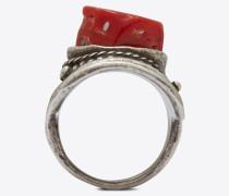 marrakech ring mit cabochon aus koralle auf silberfarbenem zinn