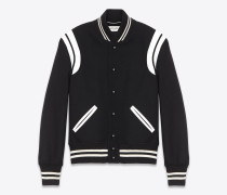teddy jacket aus schwarzer wolle