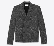 Sakko aus schwarzem, gold- und silberfarbenem Tweed mit Glitzerverzierung