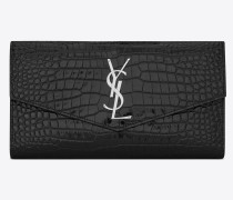 UPTOWN large wallet in shiny crocodile-embossed leather